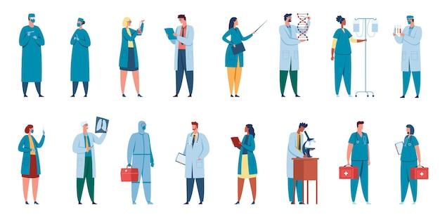 Hospital workers doctors nurses surgeons physicians in professional uniform medical staff set