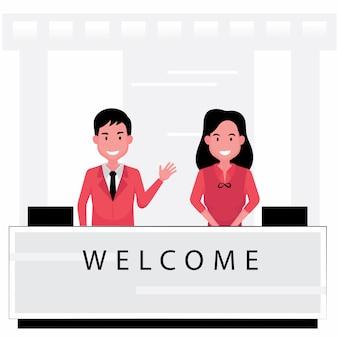 В гостиничном бизнесе есть портье, приветствующее людей у стойки обслуживания.