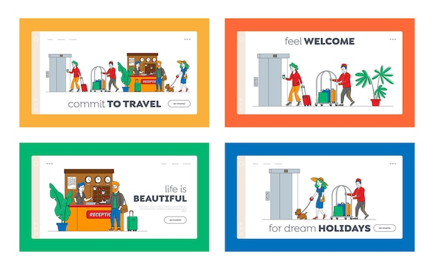 Hospitality landing page template set. characters arrive, leave hotel people at reception take keys from room at clerk desk. lobby staff meet guests, bellboy carry luggage. linear