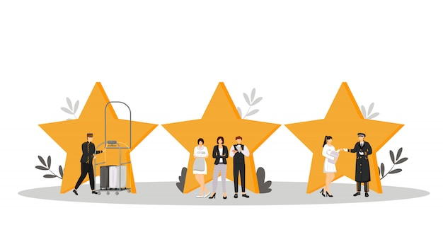 Hospitality service  color  illustration. porter, resort manager, doorman. housekeeper, waiter, administrator. rating stars. hotel staff  cartoon characters on white