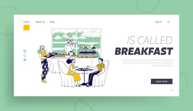 환대 서비스, 관광지 비즈니스 방문 페이지 템플릿. 아침 식사를 제공하는 호텔 직원, 호텔 레스토랑에서 식사하는 사람
