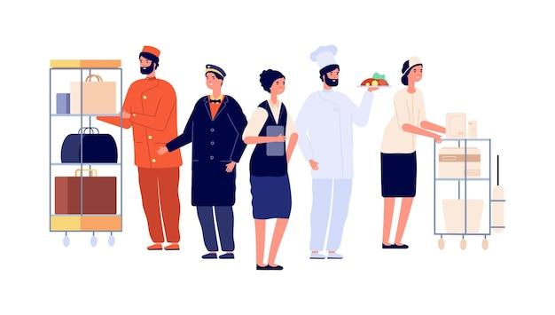 Работники сферы гостеприимства. персонажи персонала отеля, портье, горничная, швейцар, повар. команда общежития, путешествия и туризм векторные иллюстрации. профессиональный сервис отеля, служащий и менеджер в приемной