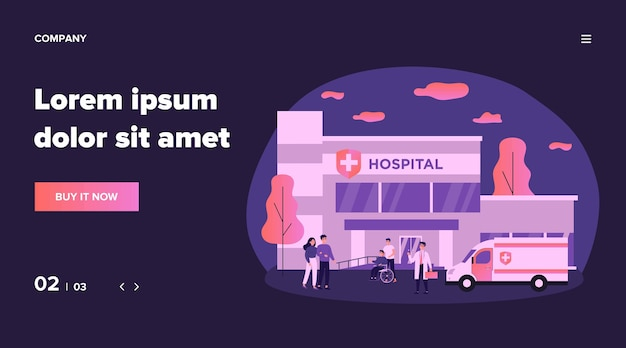 入院患者と病院イラスト近くの医師。医療の建物の前で漫画の人々。緊急およびヘルスケアの概念