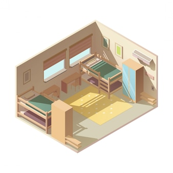 Hostel hotel room isometric vector interior