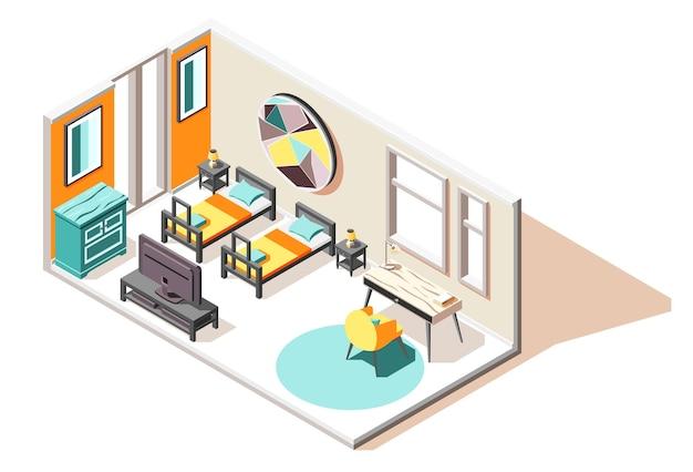 2 개의 침대 tv 가슴과 커피 테이블이있는 객실 내부의 호스텔 아이소 메트릭 구성