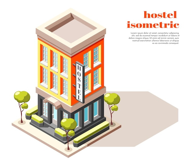 간판 나무와 도시 인프라 일러스트와 함께 현대적인 고층 건물의 호스텔 아이소 메트릭 구성