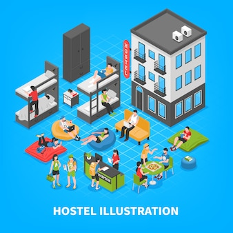Hostel isometric composition
