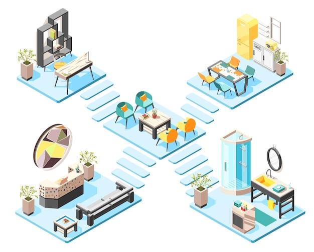 Концепция изометрической иллюстрации хостела с элементами и мебелью холла, приемной, ванной комнаты, изометрические интерьеры