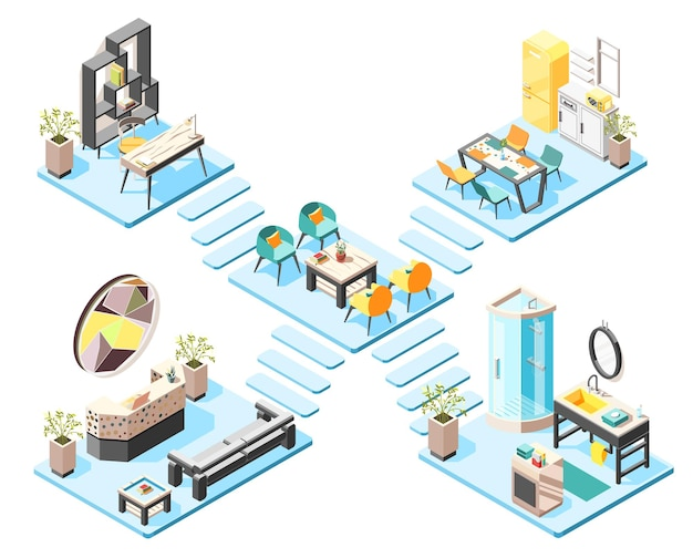 Hostel isometric illustration concept set with elements and furniture of hall reception  bathroom isometric interiors