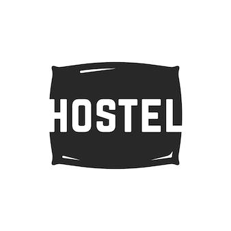 Логотип хостела с черной подушкой. концепция предмета ткани, визуальная идентификация, комфорт, общежитие, бессонница, вывеска местоположения. изолированные на белом фоне. плоский стиль тенденции современного бренда дизайн векторные иллюстрации