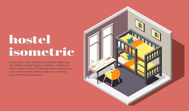 Hostel room of economy class isometric illustration with bunk bed table and chair