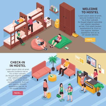 Hostel rooms isometric banners