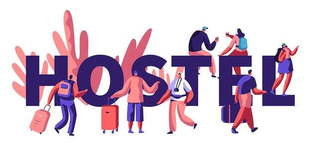 Hostel for tourist concept illustration