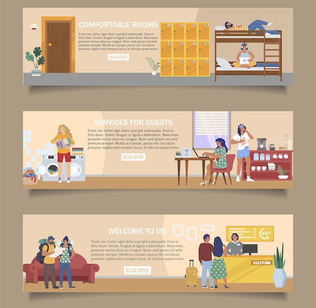 Hostel vector banner template set reception cheap comfortable dormitory rooms kitchen laundry for bu...
