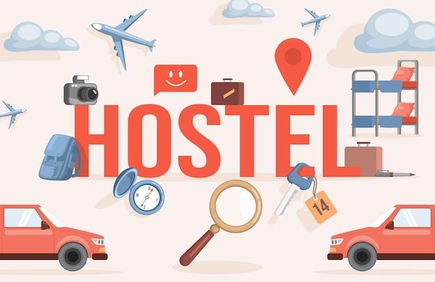 빨간 차, 사진 카메라, 침대 및 요소가있는 호스텔 단어