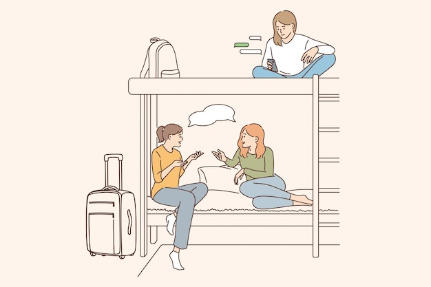 Hostel for young people concept Premium Vector