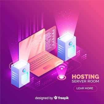 Hosting background in isometric style