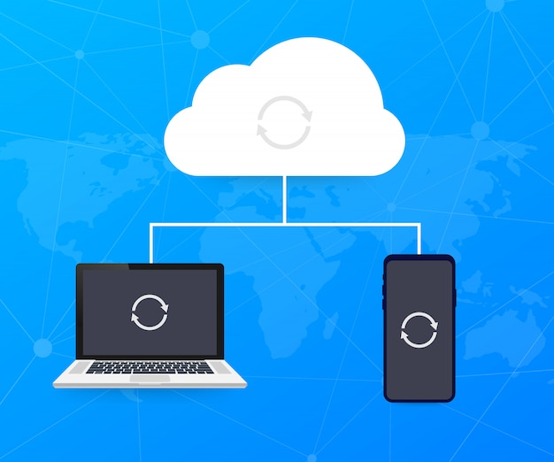 Hosting cloud concept with computer, smartphone and tablet , cloud computing technology.