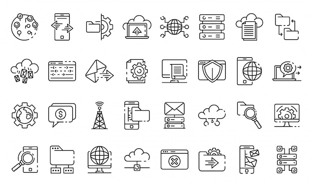 Hosting icons set, outline style
