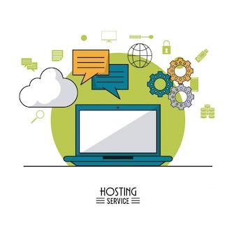 ラップトップとクラウドサービスとツールのアイコンによるホスティングサービス