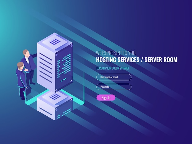 Hosting services concept, cryptocurrency and blockchain isometric composition