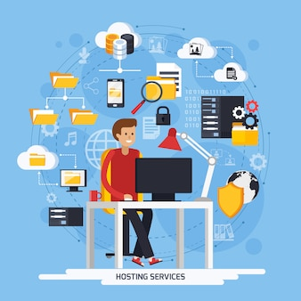 Hosting services concept