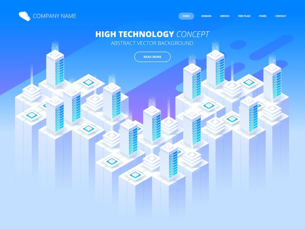 Hosting services, data center, server server room, template of page on information technologies theme. isometric  illustration