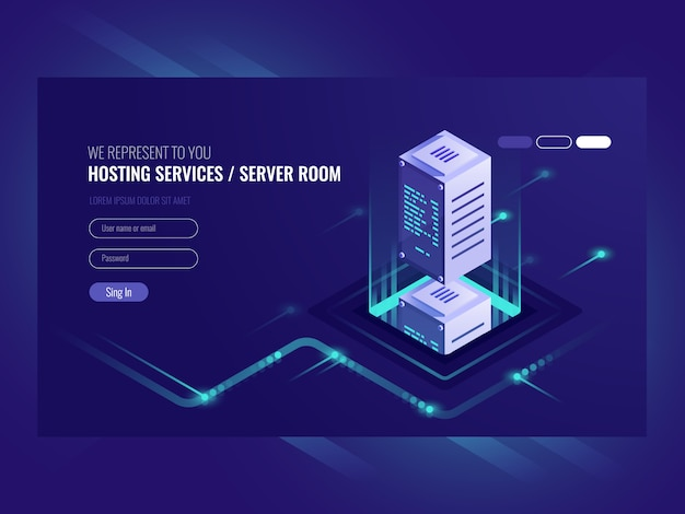 Hosting services, data center, server server room