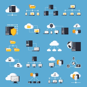 Hosting services icons set