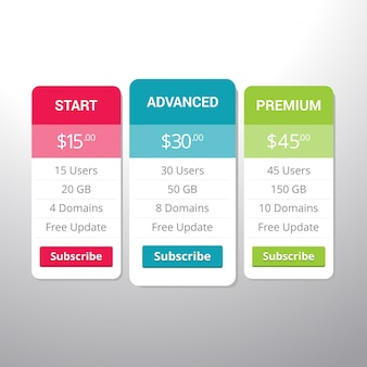 Hosting table banner. collection of pricing plans for websites and applications