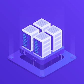 Hosting  with cloud data storage and server room. server rack. modern  illustration in isometric style