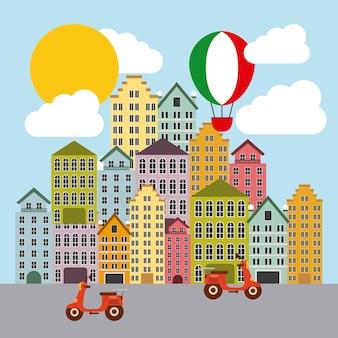 Воздушный шар и город. италия дизайн культуры. векторная графика