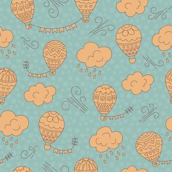 뜨거운 공기 풍선과 구름 원활한 패턴 벡터 손으로 그린 낙서 만화