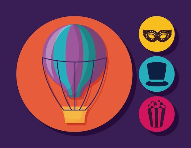 熱気球および関連アイコン