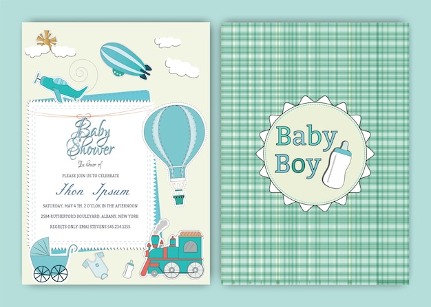 Hot air balloon baby shower party invitation card template