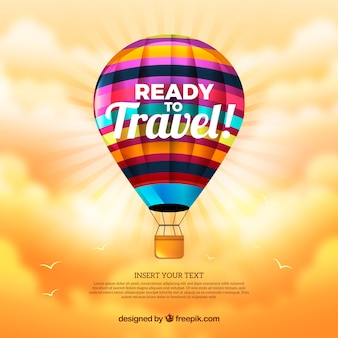 Hot air balloon background in realistic style