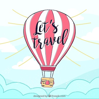 Hot air balloon background with sky in hand drawn style