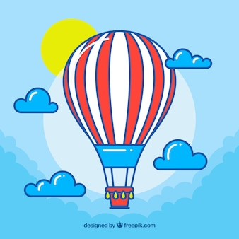 Hot air balloon background with sky