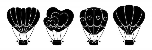 뜨거운 공기 풍선 검은 글리프 세트. 단색 평면 심장 모양 또는 원형. 만화 발렌타인 데이 디자인 공기 풍선 컬렉션. 축제 또는 결혼식 여행 항공 운송. 격리 된 그림