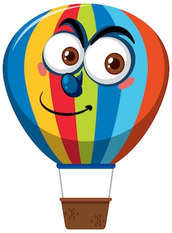 Hot air balloon cartoon character with big eyes on white background