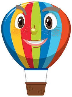 Hot air balloon cartoon character with happy face expression on white background