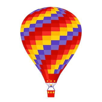 Hot air balloon.  . a cartoon flight balloon with basket.