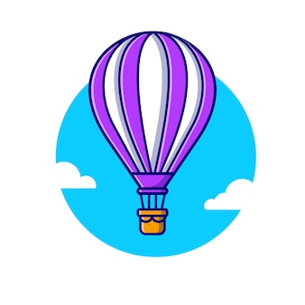 Hot air balloon cartoon  icon illustration. air transportation icon concept