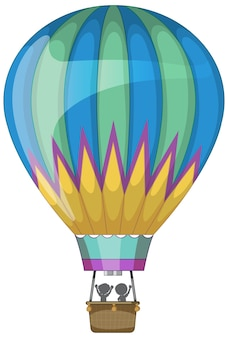 Hot air balloon in cartoon style isolated
