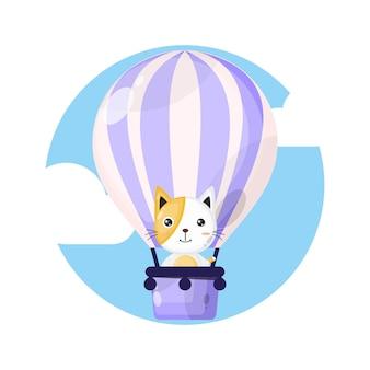 熱気球猫かわいいキャラクターのロゴ