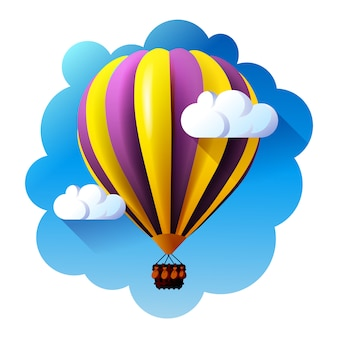 Hot air balloon in clouds.