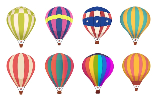 Hot air balloon. colored aircraft transport with basket sky airing flight  collection.
