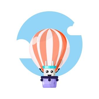 Электрический штепсель на воздушном шаре милый персонаж талисман