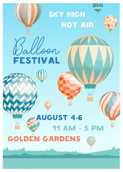 Hot air balloon festival vector poster template. summer event promotion decorated with flying balloons in sky on picturesque scenery. seasonal outdoor fest invitation flyer, advertising design.