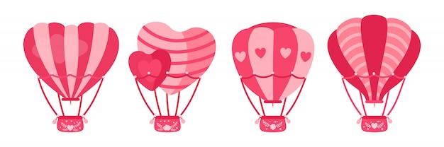 뜨거운 공기 풍선 평면 세트. 심장 모양 또는 원 핑크 색상. 만화 발렌타인 데이 디자인 공기 풍선 컬렉션. 축제, 여름 결혼식 여행 항공 운송. 격리 된 그림